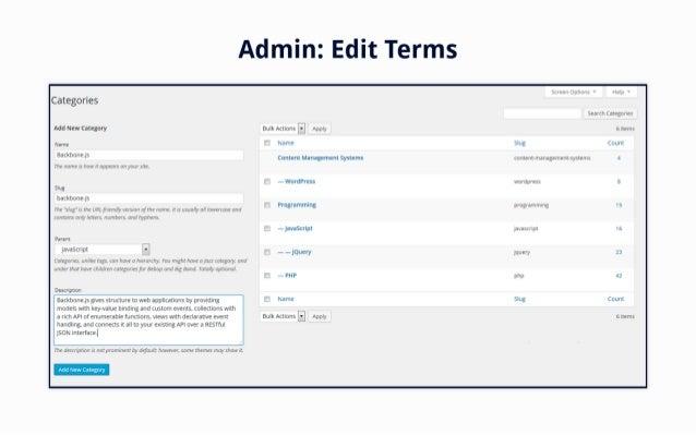 Admin:  Edit Terms  Sl'E4E'LI; IlC'1':  --en»  Categories  Search Categones  Add New Category Bulk Acnons -  5 Items  Name...