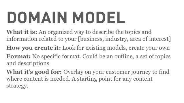 HOW-TO: DOMAIN AND CONTENT MODELS