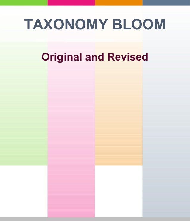 TAXONOMY BLOOM Original and Revised