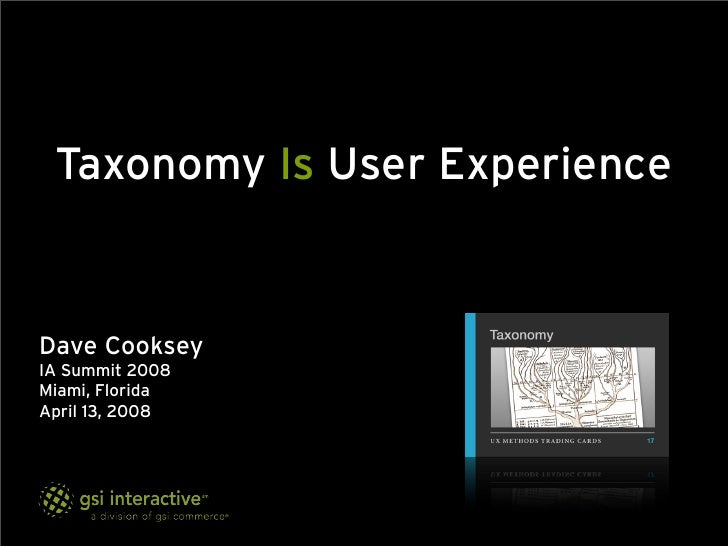 Taxonomy Is User Experience   Dave Cooksey IA Summit 2008 Miami, Florida April 13, 2008