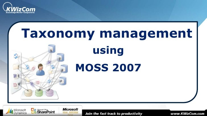 Taxonomy management        using      MOSS 2007
