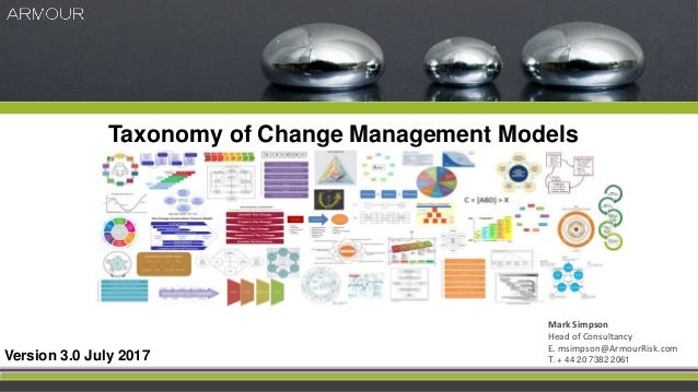 Taxonomy of Change Management Models Version 3.0 July 2017 Mark Simpson Head of Consultancy E. msimpson@ArmourRisk.com T. ...