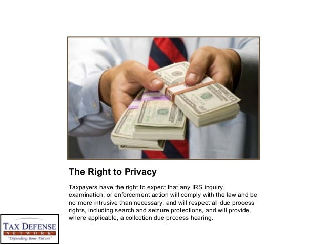 The Right to Privacy Taxpayers have the right to expect that any IRS inquiry, examination, or enforcement action will comp...