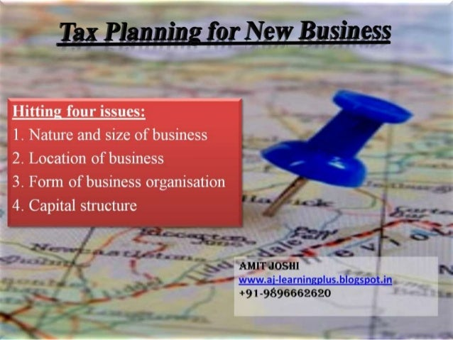 Tax planning for new businesses in india