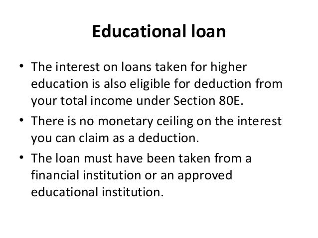 Education Loan Interest Under Section 80E