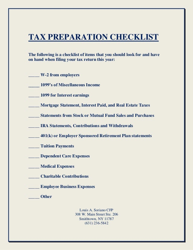 tax preparation checklist