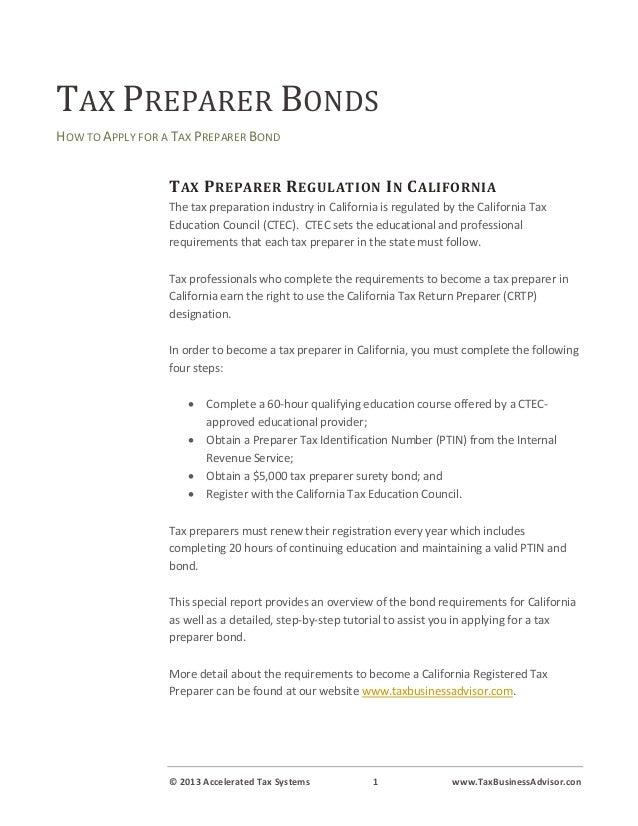 Tax Preparer Bonds How To Obtain A California Tax Preparer Bond