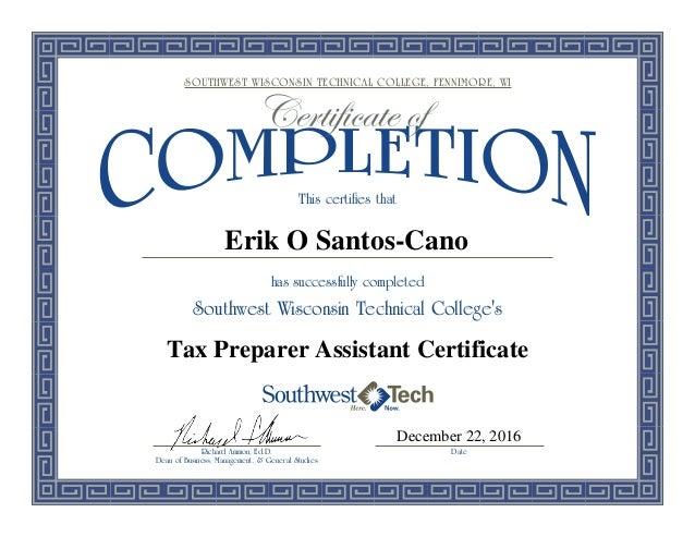tax preparer certificate