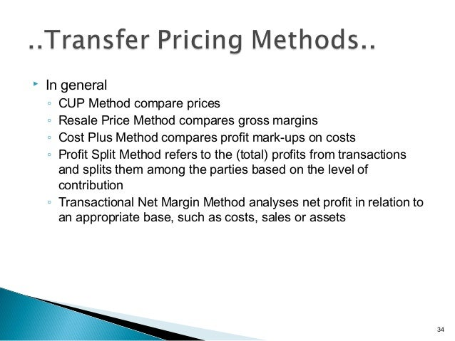 """transfer pricing methods Purpose of a transfer pricing method is described in the oecd guidelines 21: """" to establish whether the conditions imposed in the commercial."""