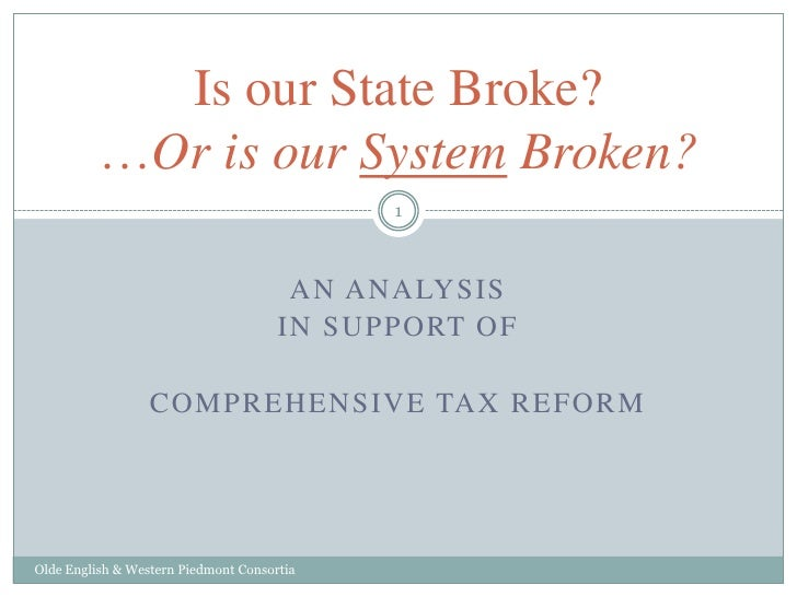 An analysis<br />In Support of <br />Comprehensive Tax Reform<br />Olde English & Western Piedmont Consortia<br />Is our S...