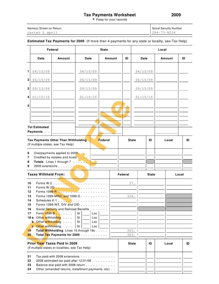 Printables Federal Carryover Worksheet tax return 8 payments worksheet