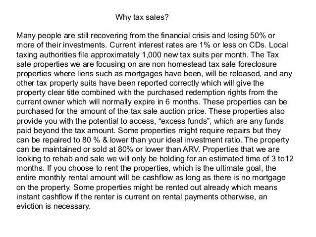Tax Sale Proposal
