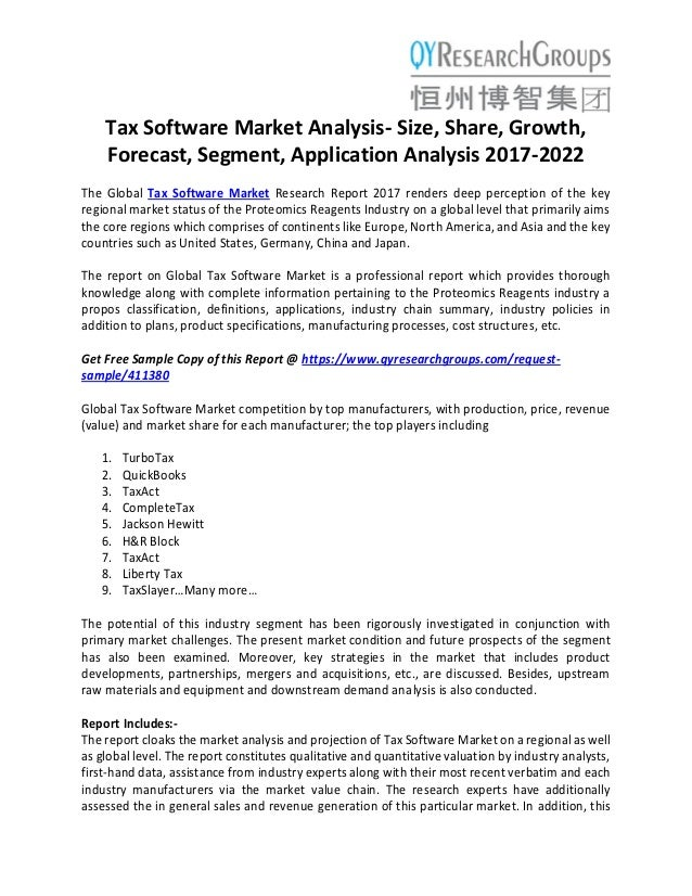 Tax Software Market analysis size, share, growth, forecast
