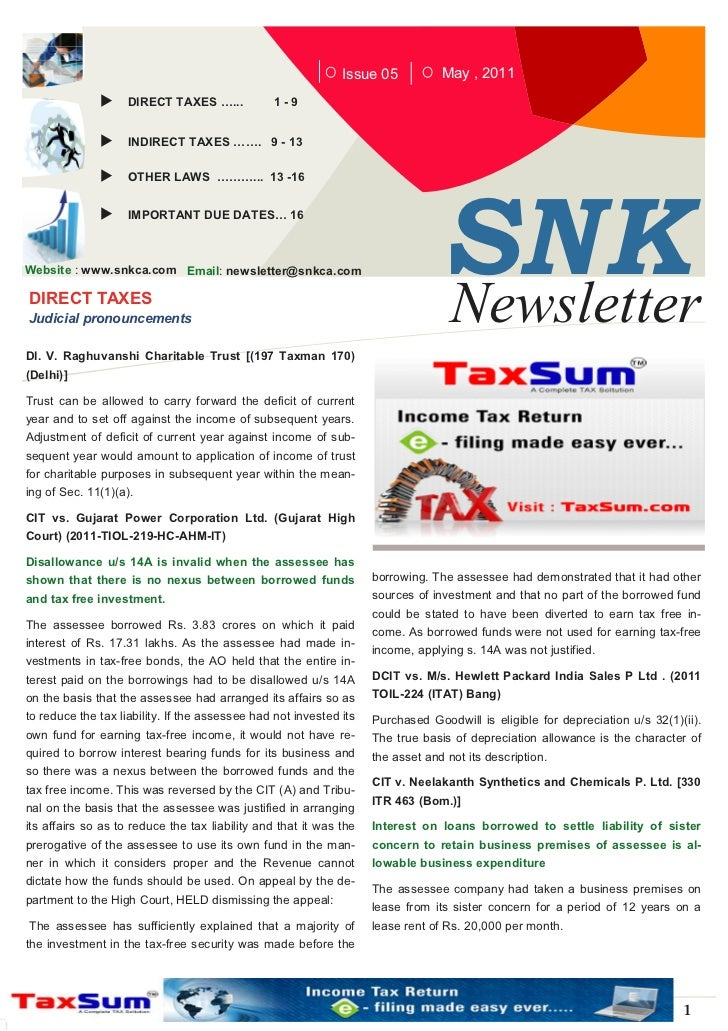 Issue 05           May , 2011                    DIRECT TAXES …...           1-9                    INDIRECT TAXES ……. 9 -...