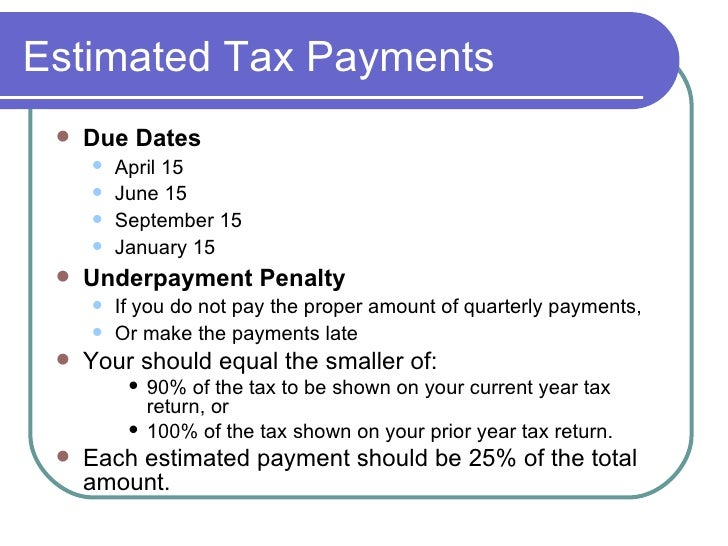 Estimated tax payments due dates