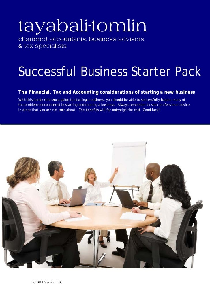 tayabali-tomlin chartered accountants, business advisers & tax specialists    Successful Business Starter Pack The Financi...