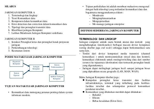 SILABUS JARINGAN KOMPUTER A 1. Terminologi dan lingkup 2. Teori Komunikasi data 3. Komponen dalam komunikasi data 4. Error...
