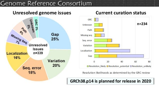 Unresolved genome issues Current curation status Resolution likelihoods as determined by the GRC review n=234 GRCh38.p14 i...