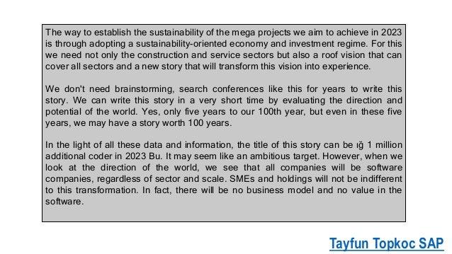 "Tayfun Topkoc SAP, 2023 vision should be ""1 million coder 20"