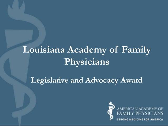 Louisiana Academy of Family Physicians Legislative and Advocacy Award