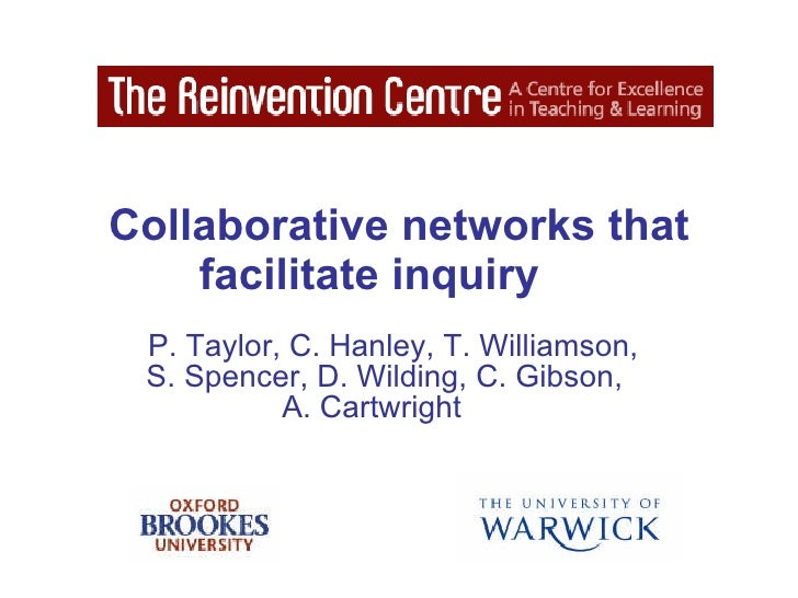 Collaborative networks that facilitate inquiry   P. Taylor, C. Hanley, T. Williamson,  S. Spencer, D. Wilding, C. Gibson, ...