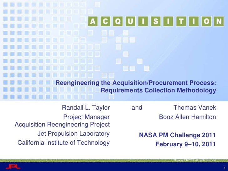 Reengineering the Acquisition/Procurement Process:  Requirements Collection Methodology<br />and                  Thomas V...