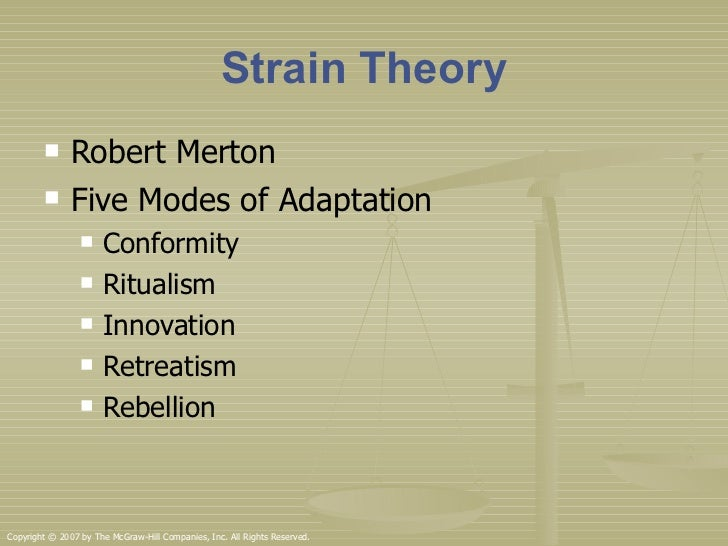 mertons five modes of adaptation essay Merton's modes of adaptation  look at merton's modes of adaptationgive at least one example of how someone, perhaps someone in the criminal justice system, uses each mode.
