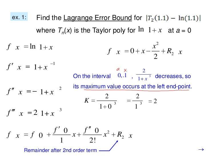 Taylor error