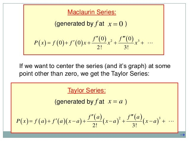 taylor series Taylor series are a type of power series that are often employed by computers and calculators to approximate transcendental functions they are used to convert these.