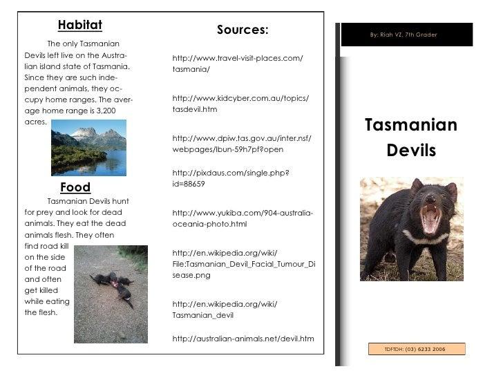 Habitat                              Sources:                      By: Riah VZ, 7th Grader        The only TasmanianDevils...
