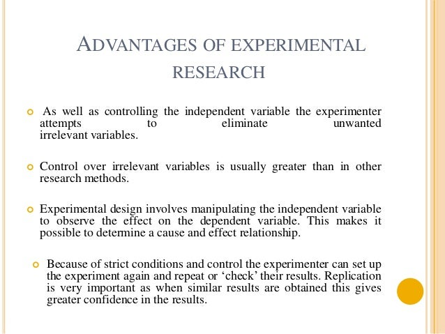 examples of experimental research in education