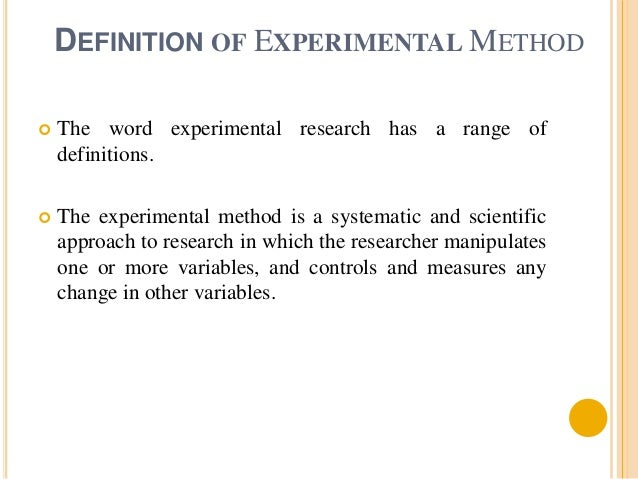 Experimental method of Research