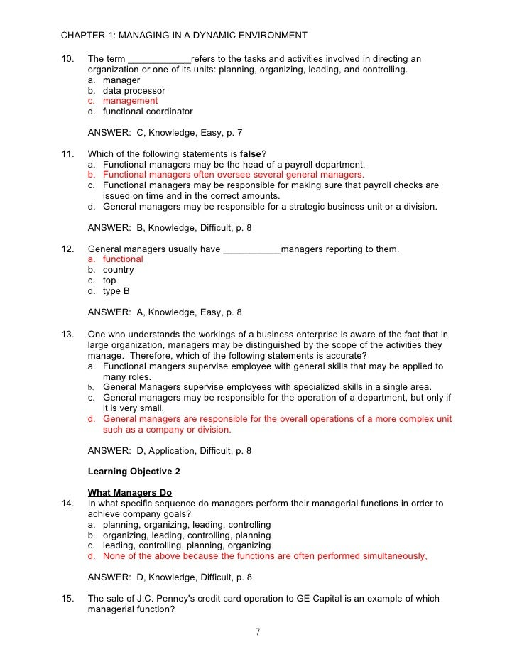 management functions examples