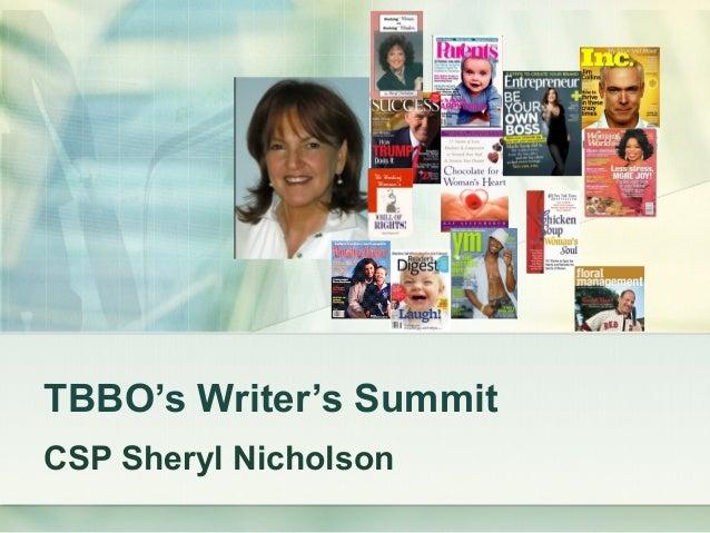TBBO's Writer's Summit CSP Sheryl Nicholson