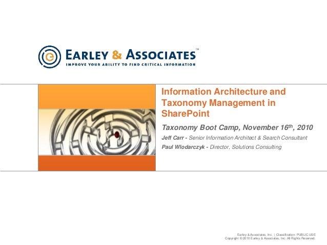 Earley & Associates, Inc.   Classification: PUBLIC USE Copyright © 2010 Earley & Associates, Inc. All Rights Reserved. Inf...