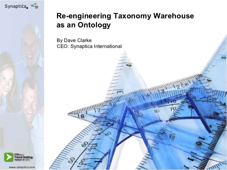 Re-engineering Taxonomy Warehouse as an Ontology By Dave Clarke CEO: Synaptica International