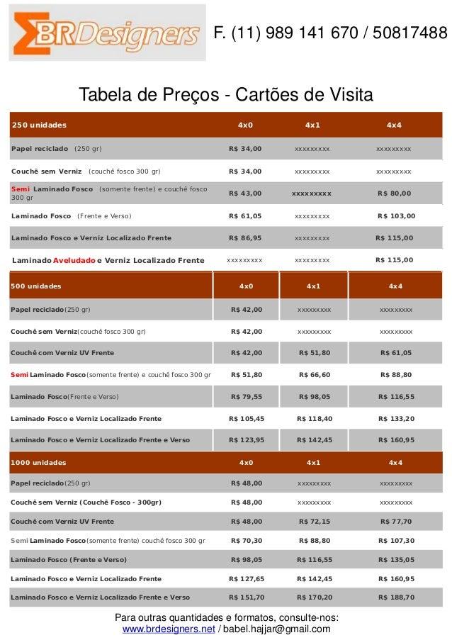F. (11) 989 141 670 / 50817488                   Tabela de Preços - Cartões de Visita250 unidades                         ...