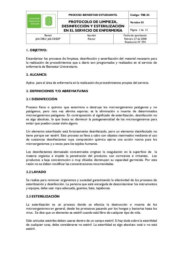 PROCESO BIENESTAR ESTUDIANTIL Código: TBE.03 Versión: 01PROTOCOLO DE LIMPIEZA, DESINFECCIÓN Y ESTERILIZACIÓN EN EL SERVICI...