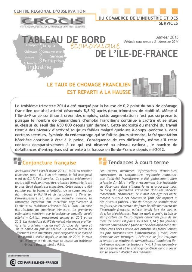 Batiment Conjoncture Chômage Entreprise Emploi Automobile Consommation Industrie Services Transport TABLEAU DE BORD DE L'I...
