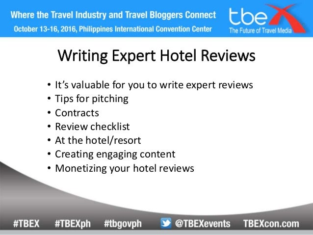 write a hotel review Writing great reviews helps others discover the places that are just right for them here are a few tips: be informative and insightful: be specific and relevant to the place you're reviewing, a.