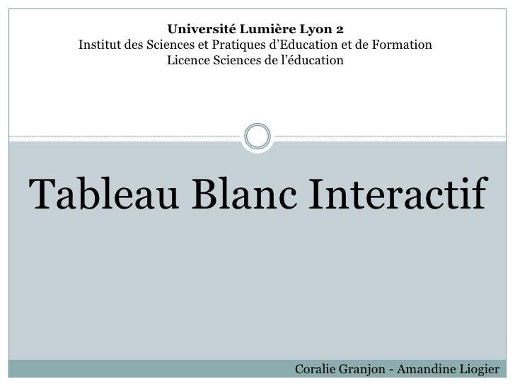 Université Lumière Lyon 2  Institut des Sciences et Pratiques d'Education et de Formation                   Licence Scienc...