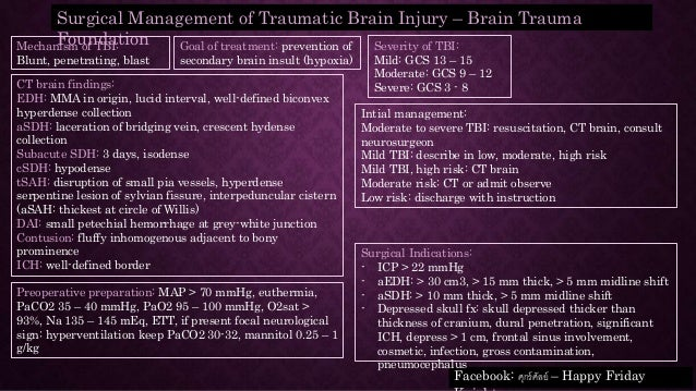 Surgical Management of Traumatic Brain Injury – Brain Trauma Foundation Severity of TBI: Mild: GCS 13 – 15 Moderate: GCS 9...