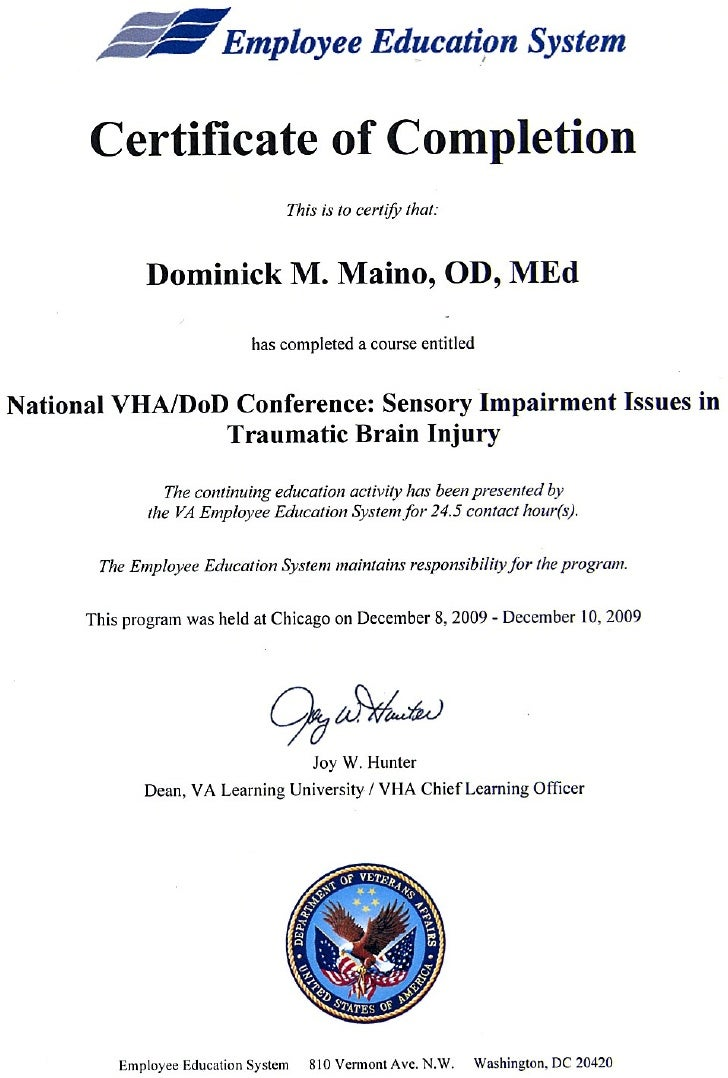 Certificate Of Completion Vhadod Tbi Conference