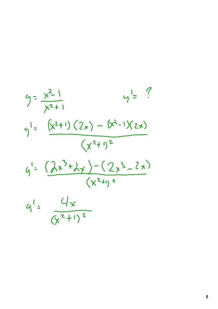 Calculus 302 Product and Quotient Rules