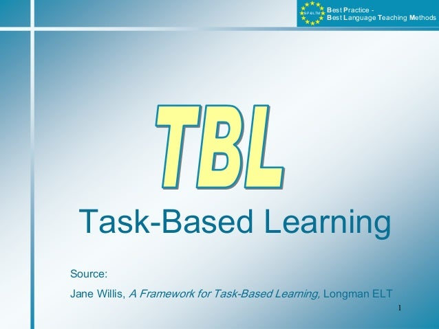 1B PB L T Mest ractice -est anguage eaching ethodsBP-BLTMTask-Based LearningSource:Jane Willis, A Framework for Task-Based...