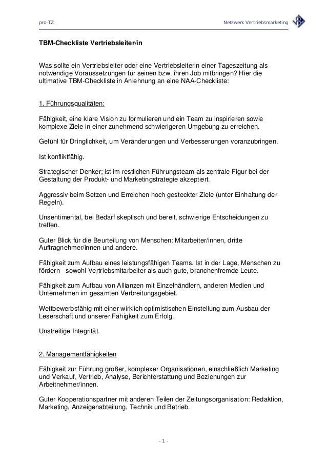 pro-TZ Netzwerk Vertriebsmarketing TBM-Checkliste Vertriebsleiter/in Was sollte ein Vertriebsleiter oder eine Vertriebslei...