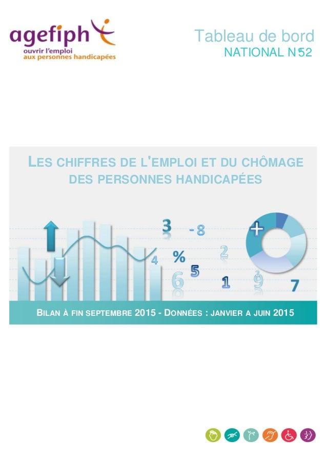 Tableau de bord NATIONAL N°52 LES CHIFFRES DE L'EMPLOI ET DU CHÔMAGE DES PERSONNES HANDICAPÉES NATIONALBILAN À FIN SEPTEMB...