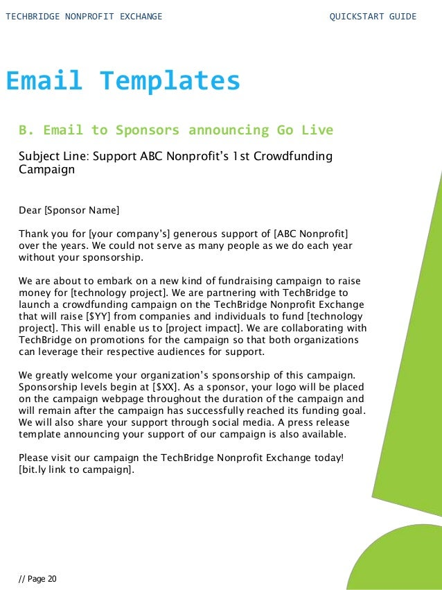 Quick Start Guide for Your Nonprofit Technology Crowdfunding Campaign – Sponsorship Email Template