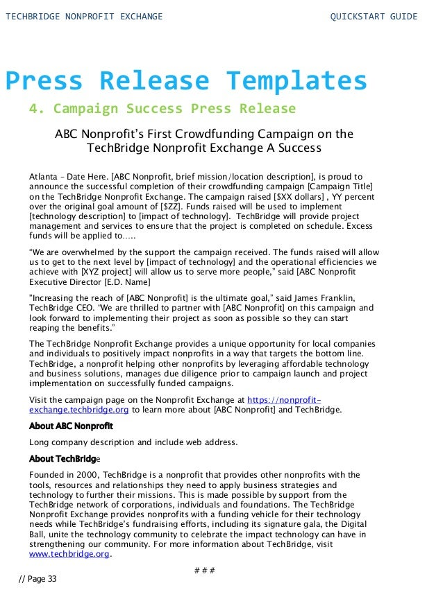 Quick start guide for your nonprofit technology for Press release brief template