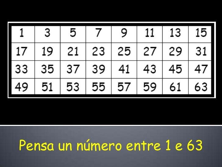 Pensa un número entre 1 e 63